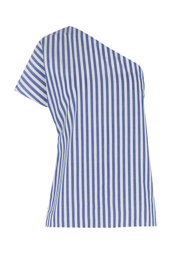 Warehouse, SLOUCH ONE SHOULDER STRIPE TOP Blue Stripe 0