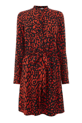 Warehouse, LEOPARD PRINT SHIRT DRESS Red Pattern 0