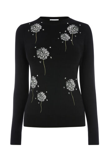Warehouse, DANDELION EMBROIDERED JUMPER Black 0