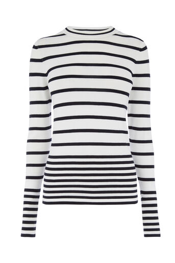 Warehouse, STRIPE CREW JUMPER Cream 0