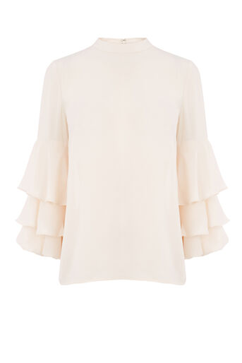 Warehouse, TIERED SLEEVE TOP Cream 0