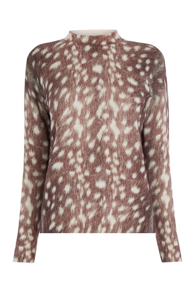 Warehouse, DEER PRINT BOXY JUMPER Brown Print 0