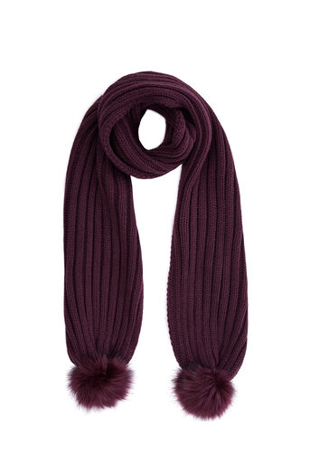 Warehouse, FAUX FUR POM SCARF Berry 0