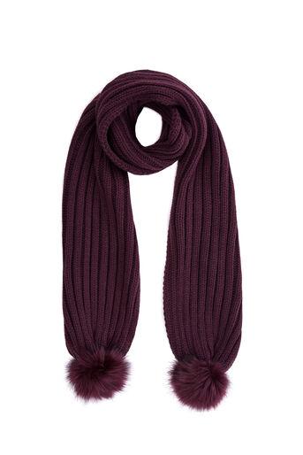 Warehouse, Sjaal met pompons van nepbont Bessen 0