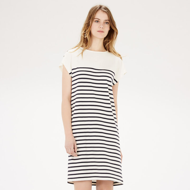 Warehouse, BRETON BUTTON DRESS Blue Stripe 1