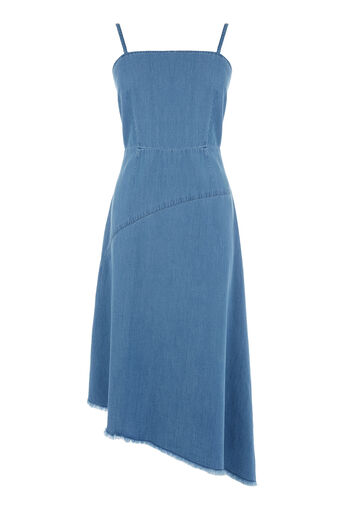 Warehouse, Asymmetric Drapey Dress Mid Wash Denim 0