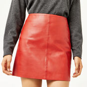 Warehouse, LEATHER SKIRT Bright Red 4