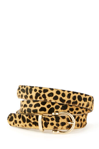 Warehouse, LEATHER LEOPARD PRINT BELT Animal 0