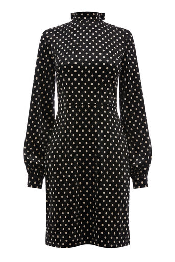 Warehouse, POLKA DOT VELVET DRESS Black Pattern 0