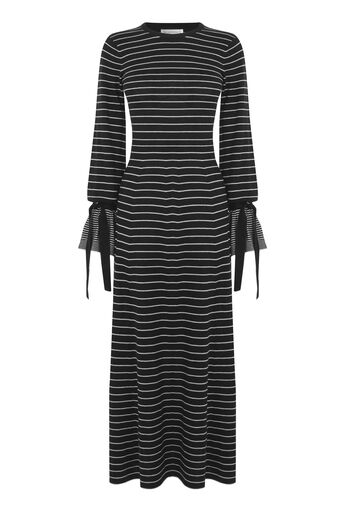 Warehouse, STRIPE TIE CUFF MAXI DRESS Black 0