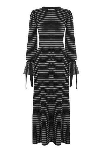 Warehouse, STRIPE TIE CUFF MAXI DRESS Black 0