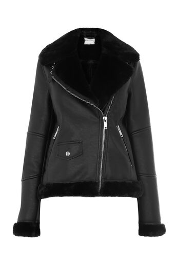 Warehouse, FAUX LEATHER BONDED BIKER Black 0