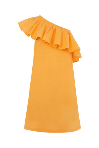 Warehouse, RUFFLE ONE SHOULDER DRESS Yellow 0