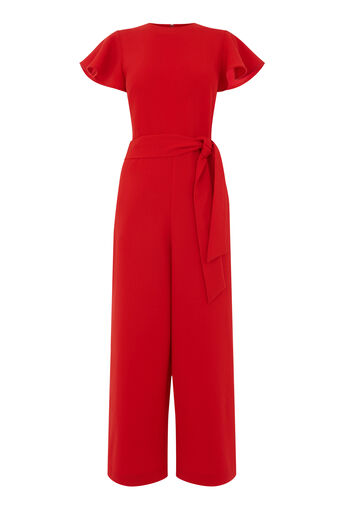 Warehouse, FRILL SLEEVE JUMPSUIT Bright Red 0