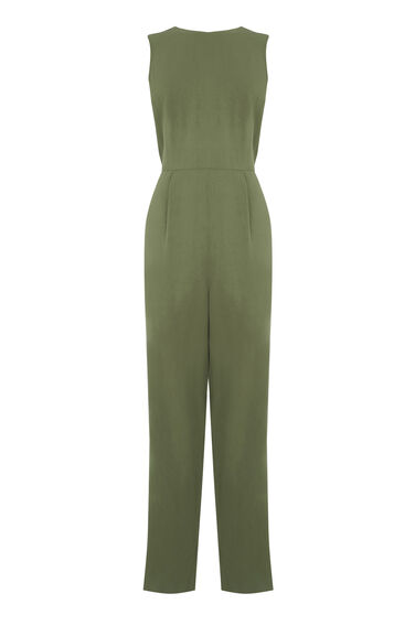 Warehouse, CASUAL TIE BACK JUMPSUIT Khaki 0