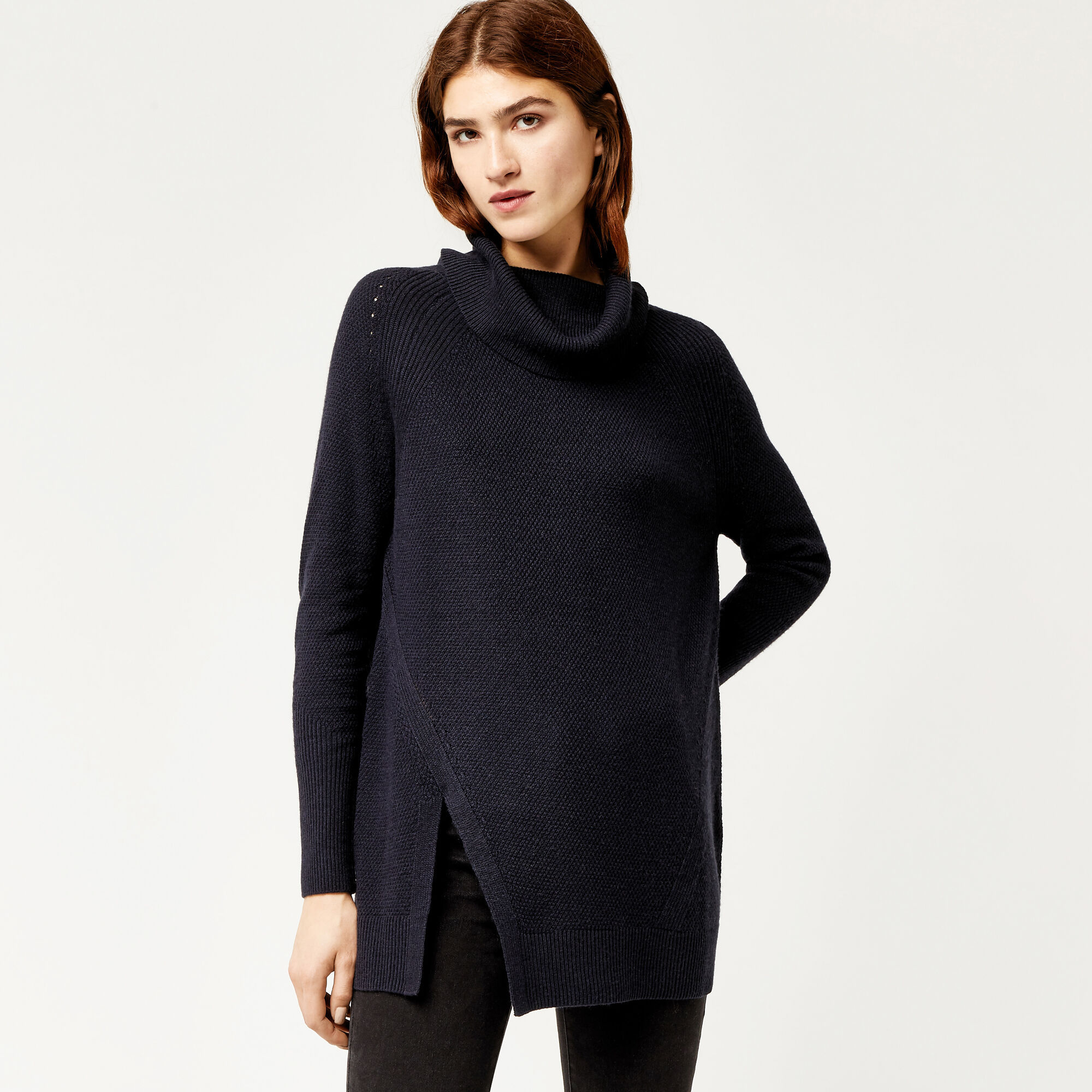 Warehouse, STITCHY COWL NECK JUMPER Navy 1
