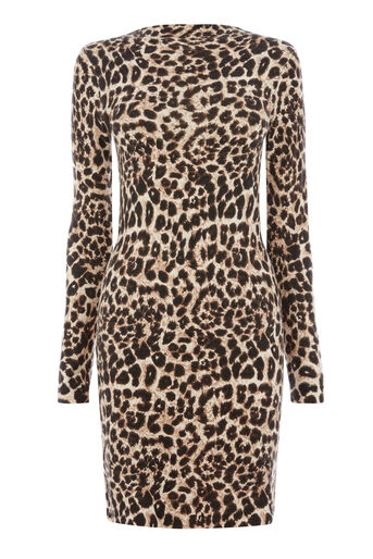 Warehouse, ANIMAL PRINT FUNNEL NECK DRESS Brown Print 0