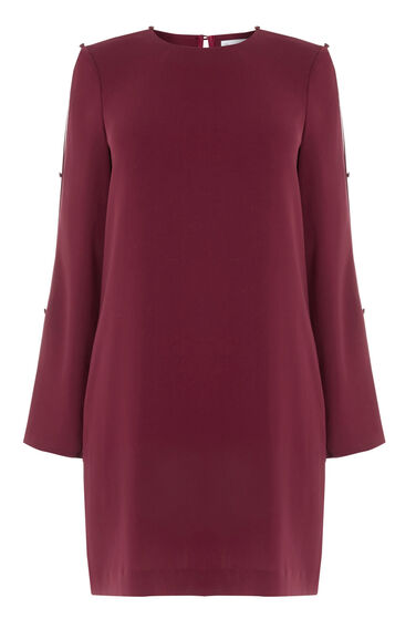 Warehouse, DIAMANTE BUTTON SLEEVE DRESS Berry 0