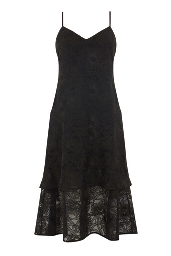 Warehouse, FLORAL STRAPPY LACE DRESS Black 0