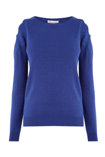 Warehouse, EMBROIDERED CUT OUT JUMPER Bright Blue 0