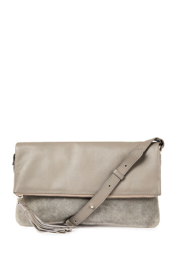 Warehouse, LEATHER AND SUEDE CROSSBODY Dark Grey 0