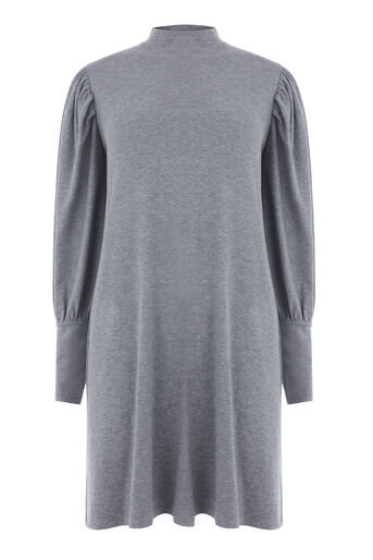 Warehouse, PUFF SLEEVE POLO NECK DRESS Dark Grey 0