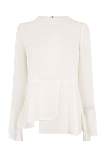 Warehouse, PEPLUM HEM TOP Cream 0