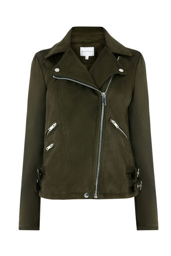Warehouse, SUEDETTE BIKER JACKET Khaki 0