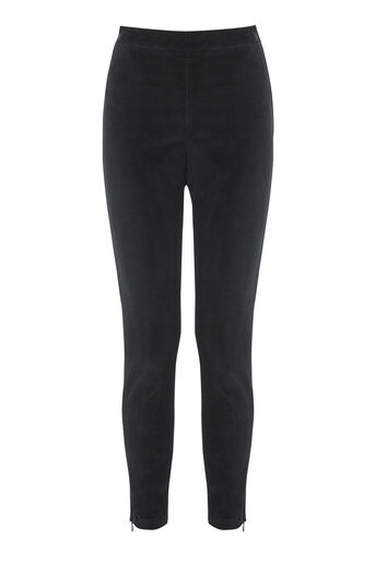 Warehouse, CLEAN HIGH RISE VELVET TROUSER Black 0