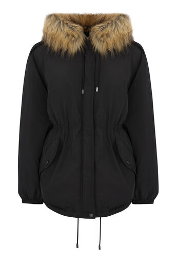 Warehouse, Short Drawstring Parka Black 0