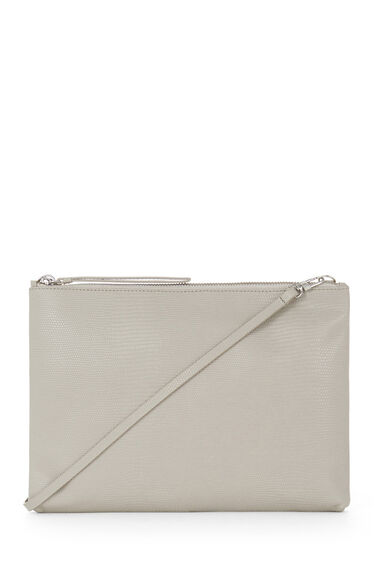Warehouse, Leather Textured Clutch Bag Light Grey 0