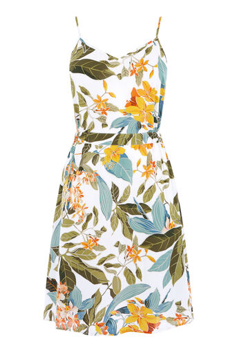Warehouse, TROPICAL GARDEN CAMI DRESS Neutral  Print 0