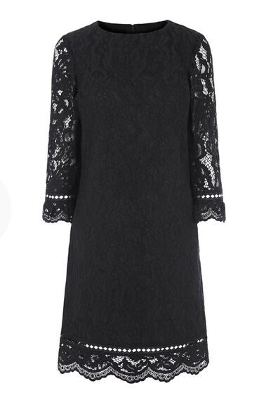 Warehouse, BONDED LACE LONG SLEEVE DRESS Black 0