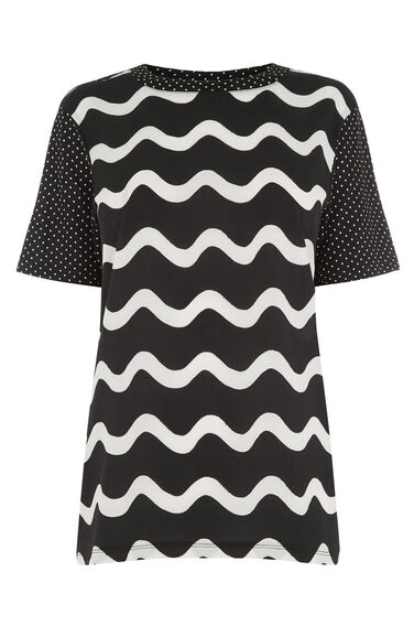 Warehouse, SQUIGGLE WOVEN FRONT TEE Black Pattern 0