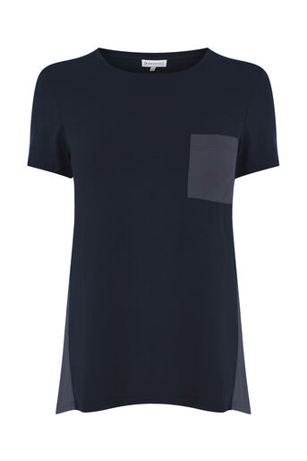Warehouse, CUPRO MIX POCKET TEE Navy 0