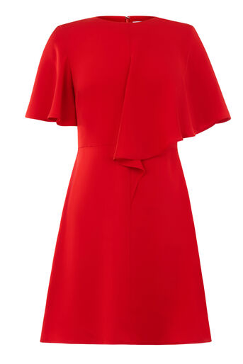 Warehouse, ASYMMETRIC RUFFLE DRESS Bright Red 0