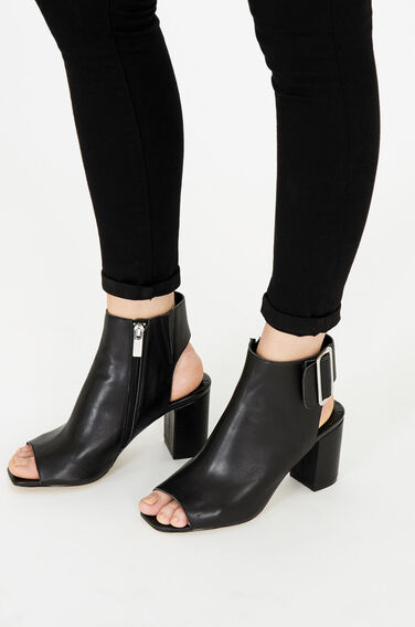 Warehouse, Cut Out Ankle Boot Black 1