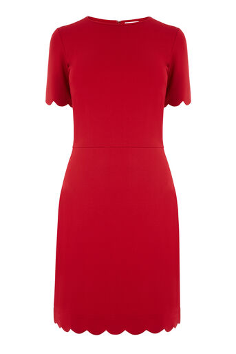 Warehouse, SCALLOP PONTE DRESS Dark Red 0