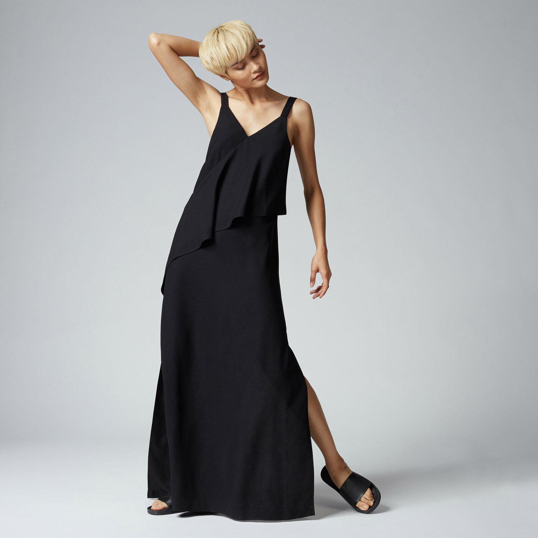 Warehouse, V NECK CREPE RUFFLE MAXI DRESS Black 1