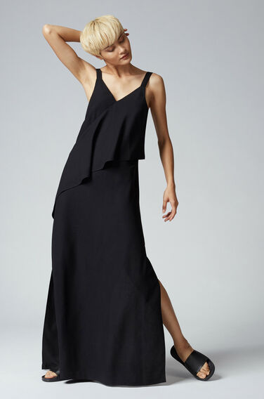 Warehouse, V NECK CREPE RUFFLE MAXI DRESS Black 0
