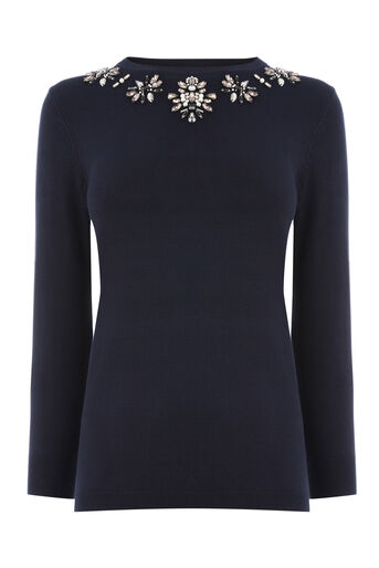 Warehouse, EMBELLISHED STATEMENT JUMPER Navy 0
