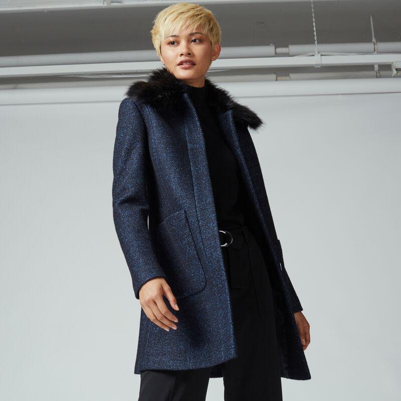 Warehouse, Swing Faux Fur Collar Coat Navy 1
