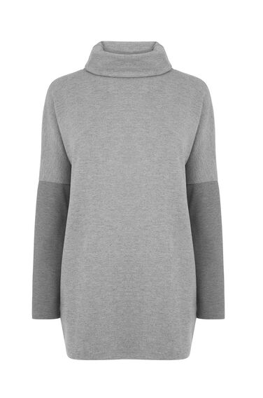 Warehouse, RIB DETAIL ROLL NECK TOP Dark Grey 0