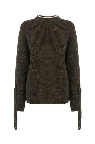 Warehouse, TIE CUFF NEP JUMPER Khaki 0