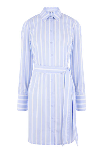 Warehouse, BUTTON SLEEVE SHIRT DRESS Blue Stripe 0