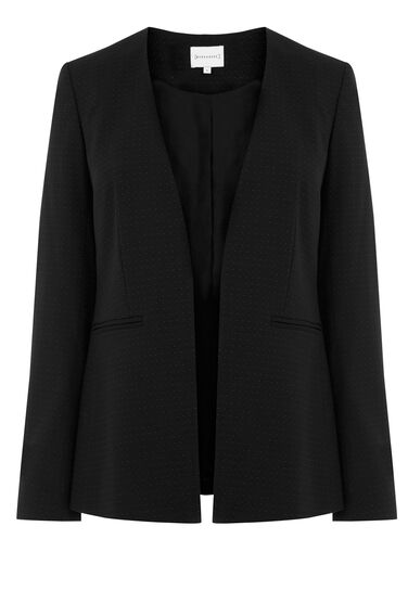 Warehouse, PINSPOT COLLARLESS JACKET Black 0