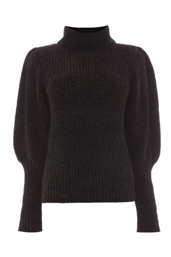 Warehouse, Chenille trui met pofmouwen Zwart 0