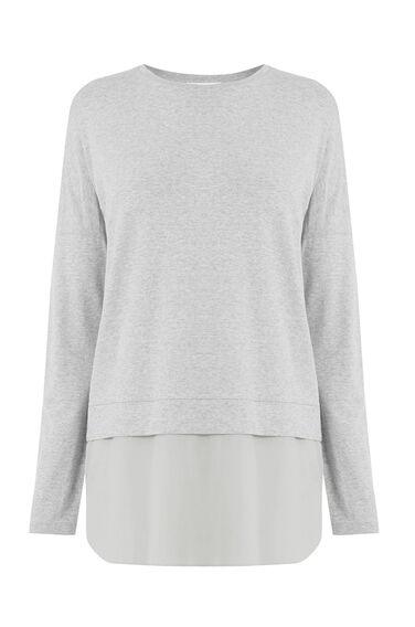 Warehouse, LONG SLEEVE WOVEN HEM TOP Light Grey 0