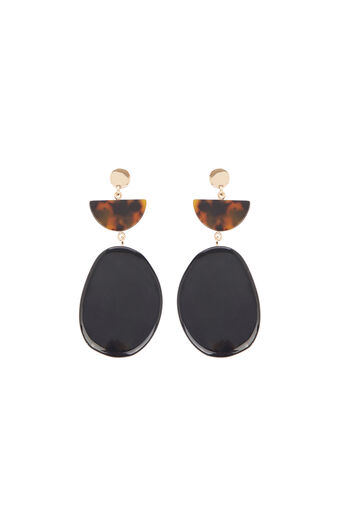 Warehouse, Pebble Drop Earrings Black 0
