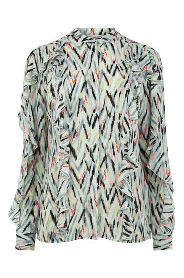 Warehouse, ZIG ZAG PRINT RUFFLE BLOUSE Multi 0